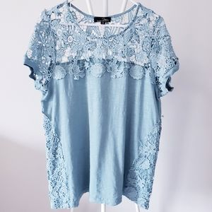 Suzanne Betro Lace Embellished Top